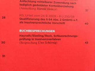 Buchbesprechung von Rechtsanwalt Schörnig Köln in DZWIR 2010