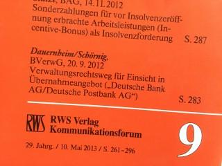 Rechtsanwalt Schörnig - Urteilsbesprechung in EWiR 2013